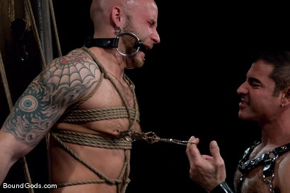 Photo number 2 from Flogs for Fuck II shot for Bound Gods on Kink.com. Featuring Drake Jaden, Tyler Saint and Nick Moretti in hardcore BDSM & Fetish porn.
