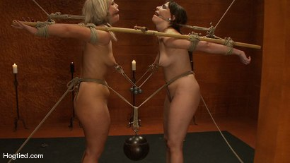 Photo number 15 from Bondage Bimbos Bamboo Bound shot for Hogtied on Kink.com. Featuring Dana DeArmond and Tara Lynn Foxx in hardcore BDSM & Fetish porn.