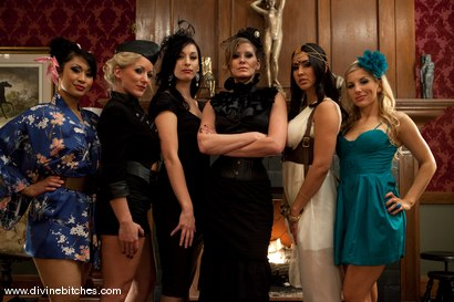 Photo number 15 from Divine High Tea Party LIVE! shot for Divine Bitches on Kink.com. Featuring Maitresse Madeline Marlowe , Isis Love, Dia Zerva, DragonLily, Kade, Derrick P., Ashley Fires, January Seraph and Zak Tyler in hardcore BDSM & Fetish porn.