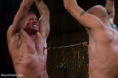 Photo number 1 from Luke Riley Getting Worked Over <br/> Live Shoot shot for Bound Gods on Kink.com. Featuring Luke Riley, Tyler Saint and Van Darkholme in hardcore BDSM & Fetish porn.