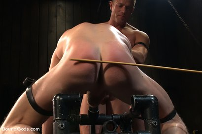 Photo number 9 from Luke Riley Getting Worked Over <br/> Live Shoot shot for Bound Gods on Kink.com. Featuring Luke Riley, Tyler Saint and Van Darkholme in hardcore BDSM & Fetish porn.
