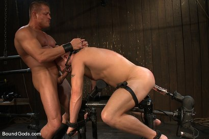 Photo number 13 from Luke Riley Getting Worked Over <br/> Live Shoot shot for Bound Gods on Kink.com. Featuring Luke Riley, Tyler Saint and Van Darkholme in hardcore BDSM & Fetish porn.