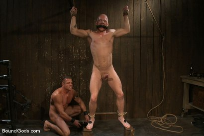 Photo number 5 from Luke Riley Getting Worked Over <br/> Live Shoot shot for Bound Gods on Kink.com. Featuring Luke Riley, Tyler Saint and Van Darkholme in hardcore BDSM & Fetish porn.