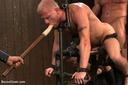Photo number 7 from Luke Riley Getting Worked Over <br/> Live Shoot shot for Bound Gods on Kink.com. Featuring Luke Riley, Tyler Saint and Van Darkholme in hardcore BDSM & Fetish porn.