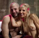 Dominant blonde girl painfully milks slaveboy then keeps him in chastity for a week!