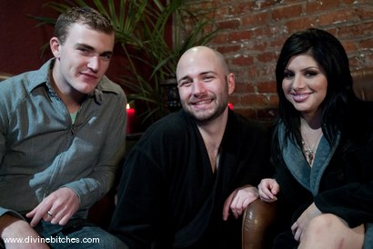 "Photo number 1 from Cuckold Husband: ""Eat his cum, cuck!"" shot for Divine Bitches on Kink.com. Featuring David Chase, Sativa Rose and Christian Wilde in hardcore BDSM & Fetish porn."