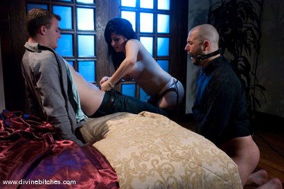 "Photo number 9 from Cuckold Husband: ""Eat his cum, cuck!"" shot for Divine Bitches on Kink.com. Featuring David Chase, Sativa Rose and Christian Wilde in hardcore BDSM & Fetish porn."