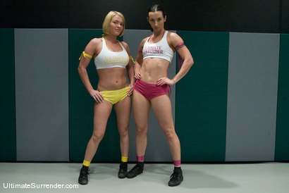 "Photo number 2 from Wenona ""The Gymnast"" (1-0)<br>vs<br>Krissy ""The Crippler"" Lynn (0-0) shot for Ultimate Surrender on Kink.com. Featuring Wenona and Krissy Lynn in hardcore BDSM & Fetish porn."