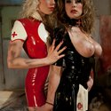 Two girls nurses in clad latex fuck a piece of man meat to drain every ounce of boys filth out of him!