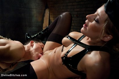 """Photo number 9 from Metamorphosis: Episode 1 """"Cum Thieves"""" shot for Divine Bitches on Kink.com. Featuring Dia Zerva, January Seraph and Martin Lorenzo in hardcore BDSM & Fetish porn."""