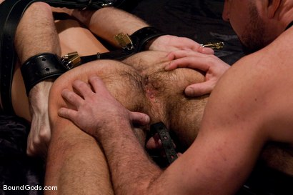 Photo number 2 from The Birthday Present shot for Bound Gods on Kink.com. Featuring Josh West and Justin Ryder in hardcore BDSM & Fetish porn.