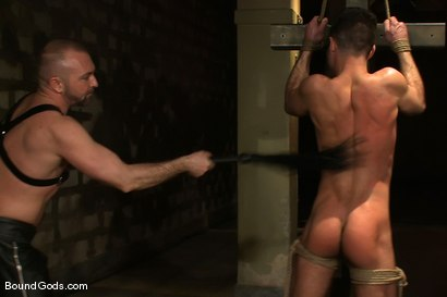 Photo number 6 from The Birthday Present shot for Bound Gods on Kink.com. Featuring Josh West and Justin Ryder in hardcore BDSM & Fetish porn.