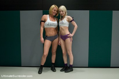 "Photo number 2 from Ashely ""The Fairy"" Jane (0-2)<br>vs<br>Krissy ""The Crippler"" Lynn (0-2) shot for Ultimate Surrender on Kink.com. Featuring Ashley Jane and Krissy Lynn in hardcore BDSM & Fetish porn."