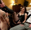 Bobbi Starr locks her cuckold slave in chastity while he's made to watch her get fucked in the ass!