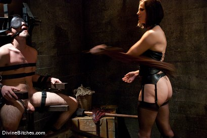 "Photo number 6 from Chastity Cuckold Slave: ""Smell his cock on my pussy"" shot for Divine Bitches on Kink.com. Featuring Bobbi Starr, Dylan Deap and Christian Wilde in hardcore BDSM & Fetish porn."