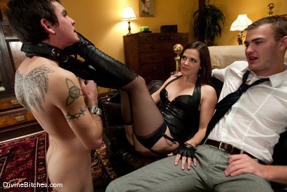 "Photo number 2 from Chastity Cuckold Slave: ""Smell his cock on my pussy"" shot for Divine Bitches on Kink.com. Featuring Bobbi Starr, Dylan Deap and Christian Wilde in hardcore BDSM & Fetish porn."