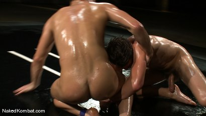 Photo number 7 from Dane Caroggio vs Tommy Defendi <br> The Oil Match shot for Naked Kombat on Kink.com. Featuring Tommy Defendi and Dane Caroggio in hardcore BDSM & Fetish porn.