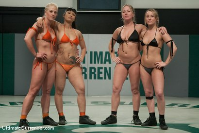 Photo number 2 from ROUND ONE<br>The Dragons(0-0) vs The Pirates (0-0) shot for Ultimate Surrender on Kink.com. Featuring Dia Zerva, Jessie Cox, DragonLily and Holly Heart in hardcore BDSM & Fetish porn.