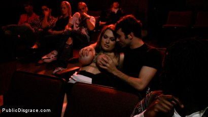 Photo number 1 from The Porn Theater shot for Public Disgrace on Kink.com. Featuring Cassandra Calogera and James Deen in hardcore BDSM & Fetish porn.