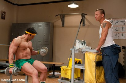 Photo number 2 from The Creepy Janitor and The Bodybuilder shot for Bound Gods on Kink.com. Featuring Brenn Wyson and Vince Ferelli in hardcore BDSM & Fetish porn.