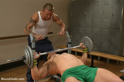Photo number 1 from The Creepy Janitor and The Bodybuilder shot for Bound Gods on Kink.com. Featuring Brenn Wyson and Vince Ferelli in hardcore BDSM & Fetish porn.