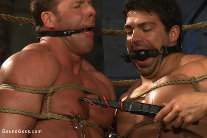 Photo number 5 from The Bodybuilders and The Onyx shot for Bound Gods on Kink.com. Featuring Van Darkholme, Vince Ferelli, Derek Pain and Christian Wilde in hardcore BDSM & Fetish porn.