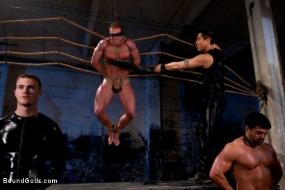 Photo number 4 from The Bodybuilders and The Onyx shot for Bound Gods on Kink.com. Featuring Van Darkholme, Vince Ferelli, Derek Pain and Christian Wilde in hardcore BDSM & Fetish porn.