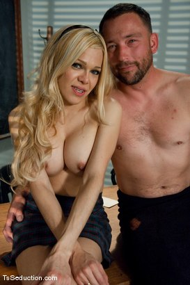 Photo number 15 from English 101 <br> A is for anal, B is for my balls hitting your ass shot for TS Seduction on Kink.com. Featuring Paris and Rom Fox in hardcore BDSM & Fetish porn.
