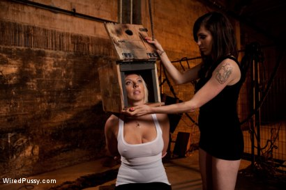 Photo number 1 from Beautiful Blonde with Big Tits gets Oiled up and Used as a Cum Canvas shot for Wired Pussy on Kink.com. Featuring Skylar Price and Princess Donna Dolore in hardcore BDSM & Fetish porn.