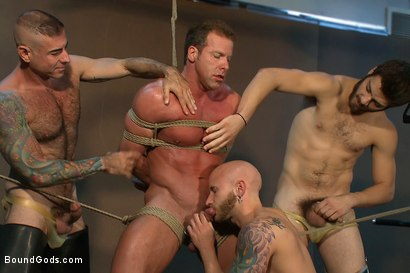 Photo number 4 from Bound Gods visit Steamworks shot for Bound Gods on Kink.com. Featuring Tommy Defendi, Nick Moretti, Drake Jaden and Derek Pain in hardcore BDSM & Fetish porn.