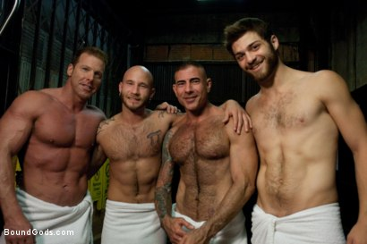 Photo number 15 from Bound Gods visit Steamworks shot for Bound Gods on Kink.com. Featuring Tommy Defendi, Nick Moretti, Drake Jaden and Derek Pain in hardcore BDSM & Fetish porn.