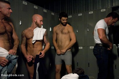 Photo number 1 from Bound Gods visit Steamworks shot for Bound Gods on Kink.com. Featuring Tommy Defendi, Nick Moretti, Drake Jaden and Derek Pain in hardcore BDSM & Fetish porn.