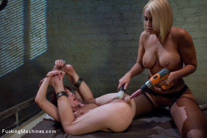 Photo number 6 from Mall Cops use shackles shot for Fucking Machines on Kink.com. Featuring Mellanie Monroe and Jessi Palmer in hardcore BDSM & Fetish porn.