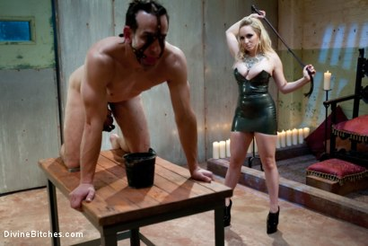 "Photo number 7 from Chastity Tease and Denial: ""Hump the Air Bitchboy"" Episode 3 shot for Divine Bitches on Kink.com. Featuring Aiden Starr and Jason Miller in hardcore BDSM & Fetish porn."