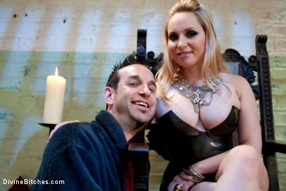 "Photo number 2 from Chastity Tease and Denial: ""Hump the Air Bitchboy"" Episode 3 shot for Divine Bitches on Kink.com. Featuring Aiden Starr and Jason Miller in hardcore BDSM & Fetish porn."