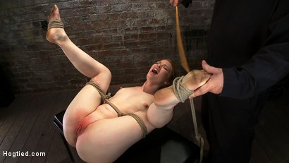Photo number 5 from Huge Nipples Tied and Stretched.   Double penetrated to Orgasm! shot for Hogtied on Kink.com. Featuring Madison Young in hardcore BDSM & Fetish porn.