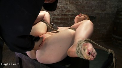 Photo number 7 from Huge Nipples Tied and Stretched.   Double penetrated to Orgasm! shot for Hogtied on Kink.com. Featuring Madison Young in hardcore BDSM & Fetish porn.