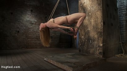 Photo number 14 from CATEGORY 5 SUSPENSION<BR>Two ropes, one though her shaved pussy<br>and a cock in her mouth, nice! shot for Hogtied on Kink.com. Featuring Madison Young in hardcore BDSM & Fetish porn.