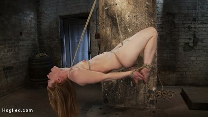 Photo number 15 from CATEGORY 5 SUSPENSION<BR>Two ropes, one though her shaved pussy<br>and a cock in her mouth, nice! shot for Hogtied on Kink.com. Featuring Madison Young in hardcore BDSM & Fetish porn.