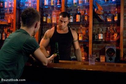 Photo number 1 from Bar Bondage Hookup shot for Bound Gods on Kink.com. Featuring Spencer Reed and Zach Alexander in hardcore BDSM & Fetish porn.