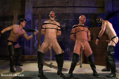 Photo number 4 from rock vs miller - Live Shoot shot for Bound Gods on Kink.com. Featuring Christian Wilde, Jason Miller, Chad Rock and Van Darkholme in hardcore BDSM & Fetish porn.