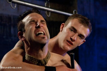 Photo number 5 from rock vs miller - Live Shoot shot for Bound Gods on Kink.com. Featuring Christian Wilde, Jason Miller, Chad Rock and Van Darkholme in hardcore BDSM & Fetish porn.