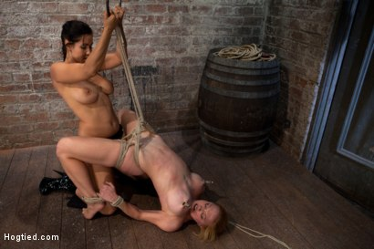 Photo number 1 from Darling suffers her second Category 5 tie<br>Brutal Nipple Torture<br>and a hard fucking from Isis. shot for Hogtied on Kink.com. Featuring Isis Love and Dee Williams in hardcore BDSM & Fetish porn.