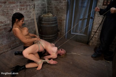 Photo number 14 from Darling suffers her second Category 5 tie<br>Brutal Nipple Torture<br>and a hard fucking from Isis. shot for Hogtied on Kink.com. Featuring Isis Love and Dee Williams in hardcore BDSM & Fetish porn.