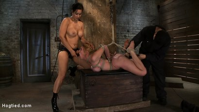 Photo number 9 from Darling Suffers her Third Category 5 Position<br>Brutally Fisted and Made to<br>Squirt and Cum!! shot for Hogtied on Kink.com. Featuring Isis Love and Dee Williams in hardcore BDSM & Fetish porn.