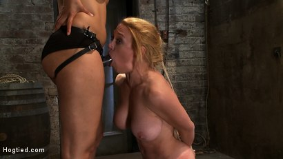Photo number 1 from Darling Suffers her Third Category 5 Position<br>Brutally Fisted and Made to<br>Squirt and Cum!! shot for Hogtied on Kink.com. Featuring Isis Love and Dee Williams in hardcore BDSM & Fetish porn.