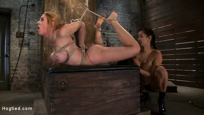 Photo number 12 from Darling Suffers her Third Category 5 Position<br>Brutally Fisted and Made to<br>Squirt and Cum!! shot for Hogtied on Kink.com. Featuring Isis Love and Dee Williams in hardcore BDSM & Fetish porn.
