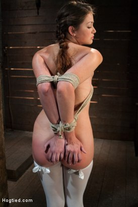 Photo number 1 from Thigh Highs and Cotton Panties   We're going to Hell shot for Hogtied on Kink.com. Featuring Allie Haze in hardcore BDSM & Fetish porn.