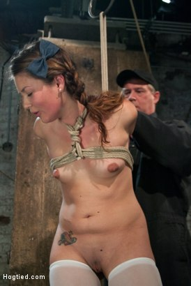 Photo number 4 from Thigh Highs and Cotton Panties<br>We're going to Hell shot for Hogtied on Kink.com. Featuring Allie Haze in hardcore BDSM & Fetish porn.