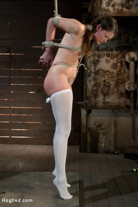 Photo number 8 from Thigh Highs and Cotton Panties<br>We're going to Hell shot for Hogtied on Kink.com. Featuring Allie Haze in hardcore BDSM & Fetish porn.